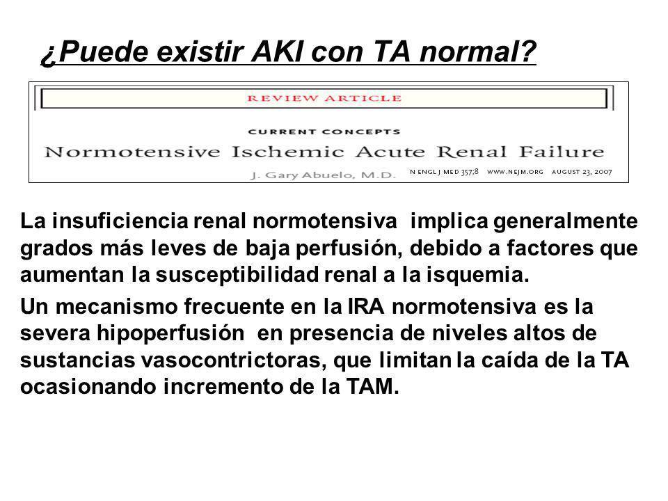 ¿Puede existir AKI con TA normal? La insuficiencia renal normotensiva implica generalmente grados más leves de baja perfusión, debido a factores que a