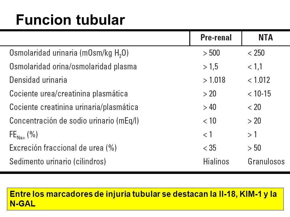 Funcion tubular Entre los marcadores de injuria tubular se destacan la Il-18, KIM-1 y la N-GAL