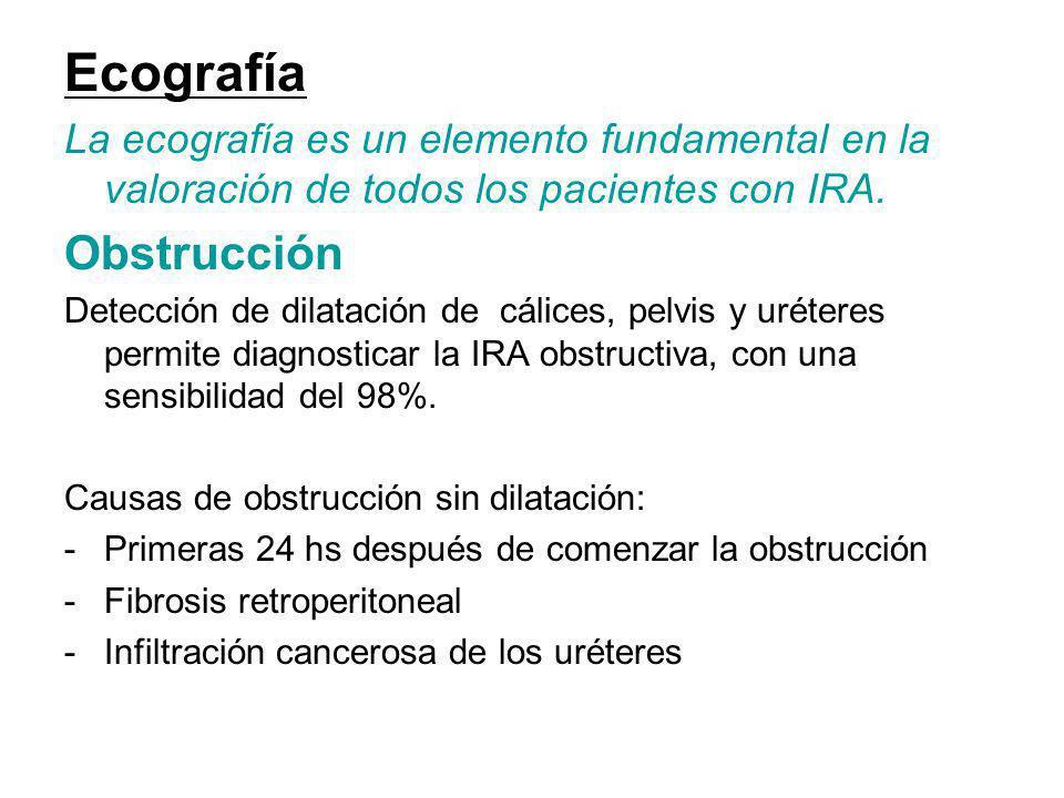Ecografía La ecografía es un elemento fundamental en la valoración de todos los pacientes con IRA. Obstrucción Detección de dilatación de cálices, pel
