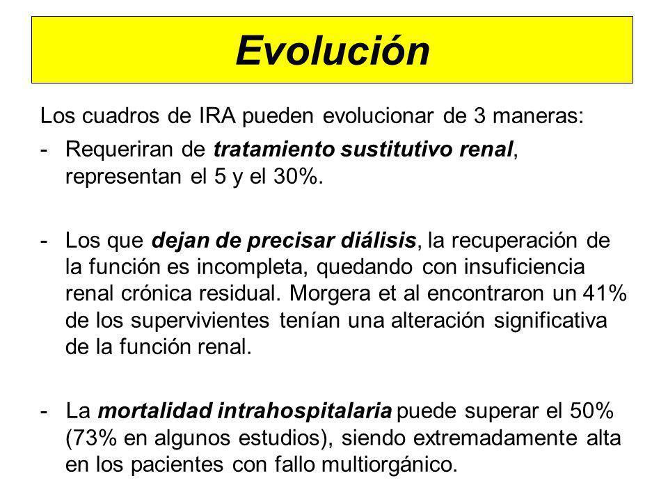 Evolución Los cuadros de IRA pueden evolucionar de 3 maneras: -Requeriran de tratamiento sustitutivo renal, representan el 5 y el 30%. -Los que dejan