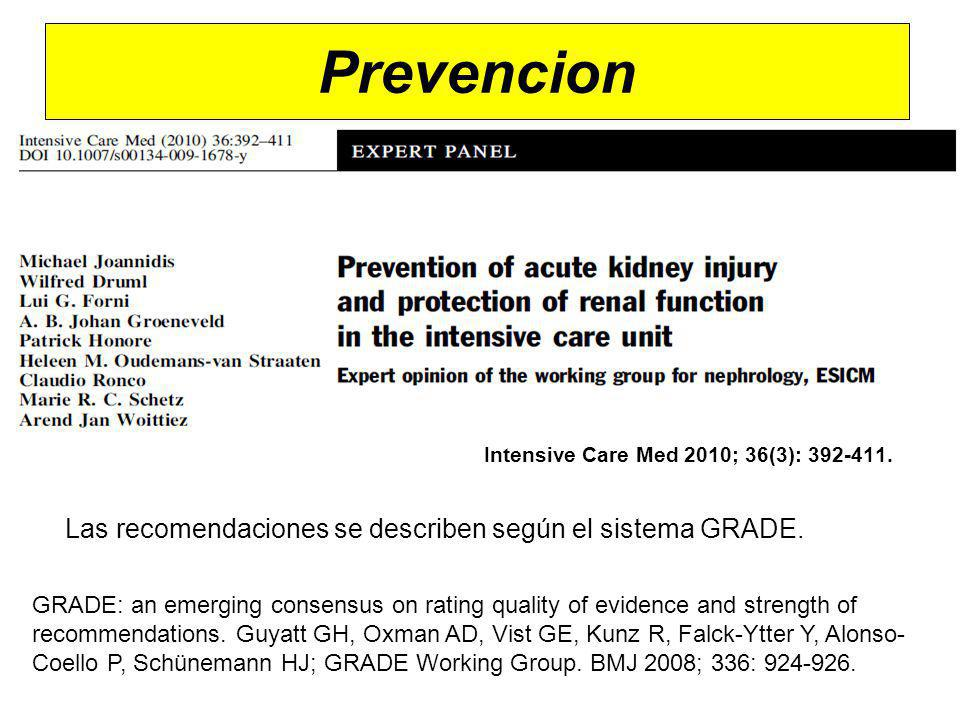 Prevencion Intensive Care Med 2010; 36(3): 392-411. Las recomendaciones se describen según el sistema GRADE. GRADE: an emerging consensus on rating qu