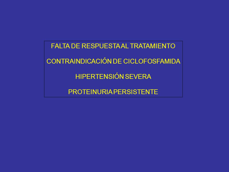 24 meses post-tratamiento global: TA: 125/70 mmHg Cilindros hemáticos negativos Hematuria dismórfica 10% Proteinuria 0.3 g/día Creatinina 1.4 mg/dl; clearance de creatinina 36 ml/min Albúmina 3.8 g/dl FAN 1/80 homogéneo; C3: 100 C4: 20; antiDNA - 6 meses post-inicio MMF (12 post-inicio): TA: 125/70 mmHg Cilindros hemáticos negativos Hematuria dismórfica 30% Ionograma urinario 60 mEq/L Proteinuria 0.6 g/día Creatinina 1.2 mg/dl; clearance de creatinina 40 ml/min Albúmina 3.5 g/dl 3 meses post-inicio MMF (9 post-inicio): TA: 140/89 mmHg Cilindros hemáticos negativos Hematuria dismórfica 50% Proteinuria 1.8 g/día Creatinina 1.1 mg/dl; clearance de creatinina 48 ml/min Albúmina 3.2 g/dl IONOu 230 VALSARTAN DIETA 6 meses post-tratamiento: TA: 110/60 mmHg Cilindros hemáticos negativos Hematuria dismórfica 100% Proteinuria 3.5 g/día Creatinina 0.9 mg/dl; clearance de creatinina 44 ml/min Albúmina 2.9 g/dl Urocultivo negativo BIOPSIA- MMF 3 meses post-tratamiento: TA: 130/80 mmHg Cilindros hemáticos negativos Hematuria dismórfica 80% Proteinuria 3 g/día Creatinina 1.0 mg/dl; clearance de creatinina 50 ml/min Albúmina 3.2 g/dl Urocultivo negativo ENALAPRIL 10 X 2