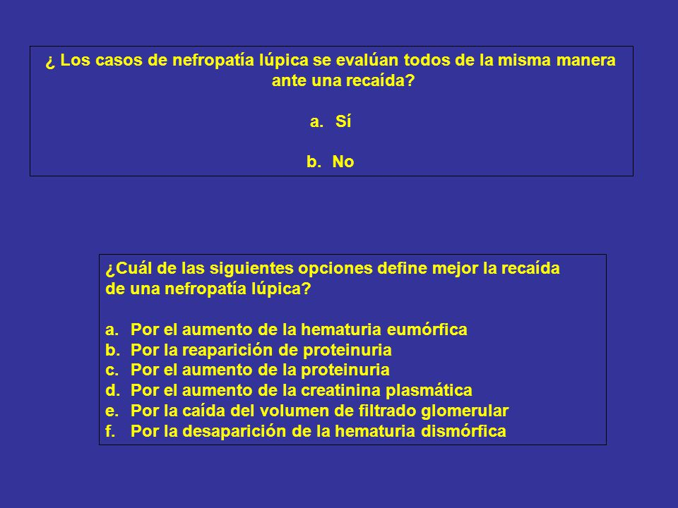 Biopsia renal: Clase IV; actividad 12/24; cronicidad 0/4 Nefritis clase IV-S (A).