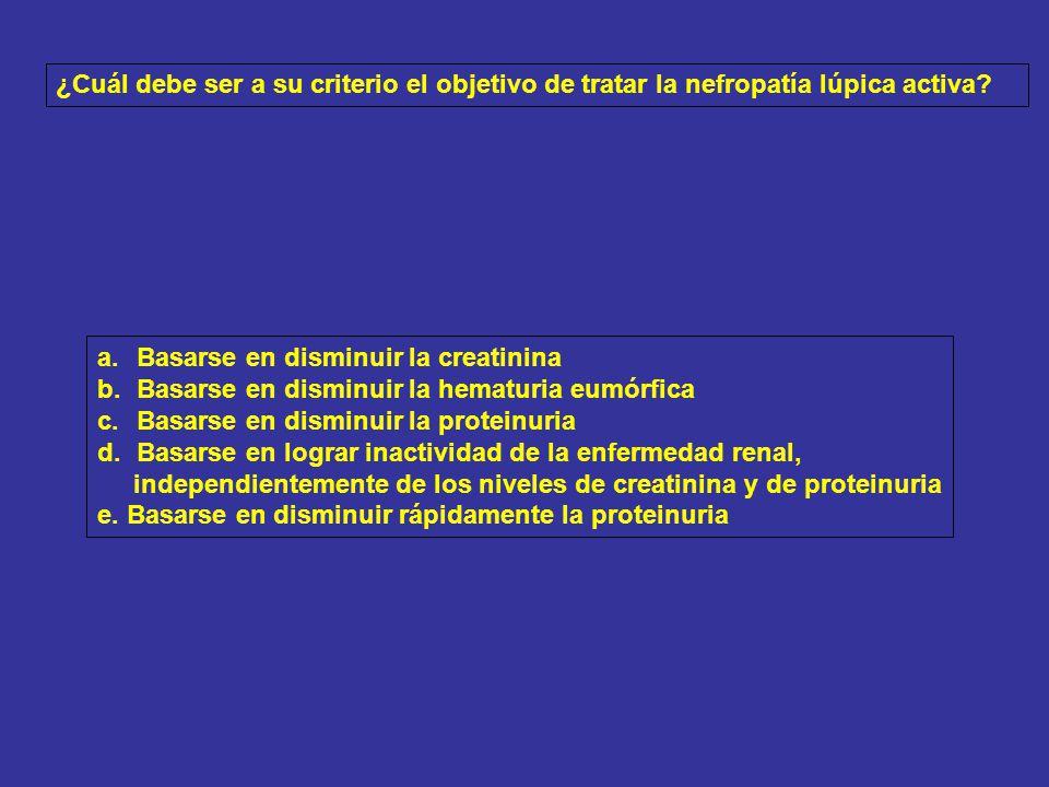 TRATAMIENTO: MICOFENOLATO MOFETIL 2 G/DÍA + PREDNISOLONA 0.5 MG/KG/DÍA BUENA TOLERANCIA AL MICOFENOLATO: 2.5 G/DÍA