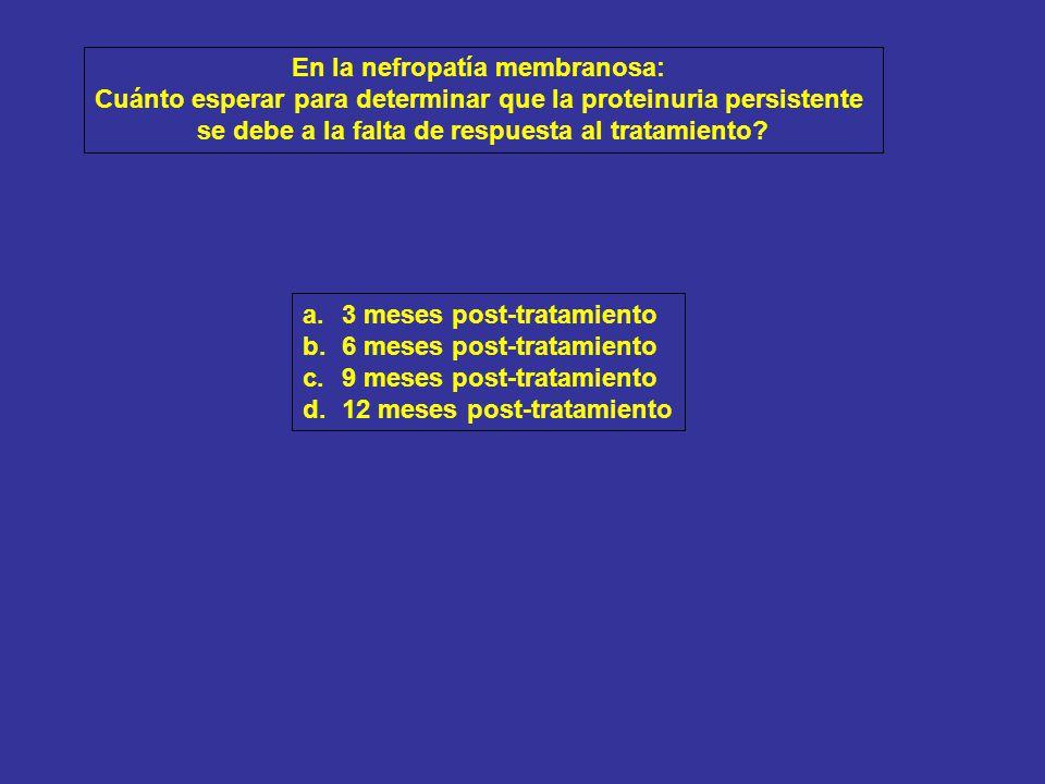 3 meses post-tratamiento (9 post-inicio): TA: 140/89 mmHg Cilindros hemáticos negativos Hematuria dismórfica 50% Proteinuria 1.8 g/día Creatinina 1.1 mg/dl; clearance de creatinina 48 ml/min Albúmina 3.2 g/dl