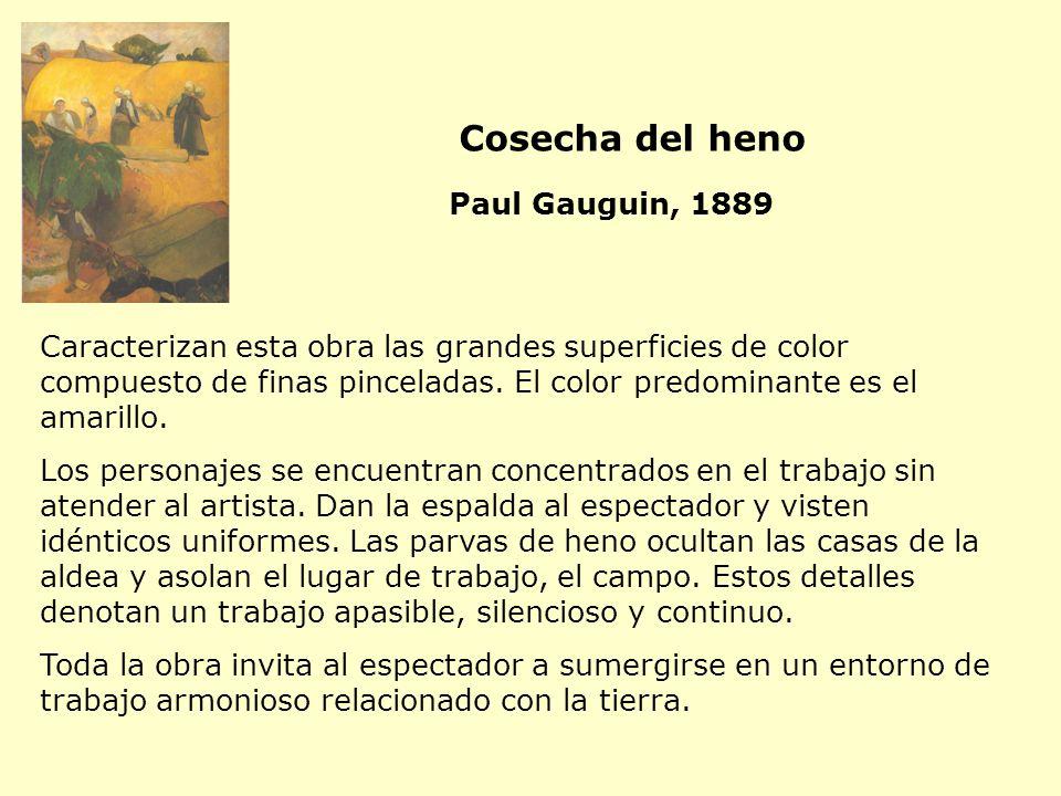 Caracterizan esta obra las grandes superficies de color compuesto de finas pinceladas. El color predominante es el amarillo. Los personajes se encuent