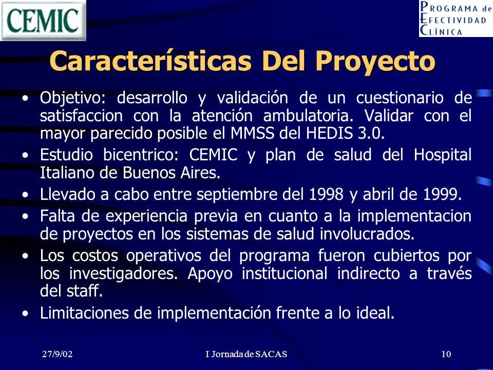 27/9/02I Jornada de SACAS10 Características Del Proyecto Objetivo: desarrollo y validación de un cuestionario de satisfaccion con la atención ambulatoria.