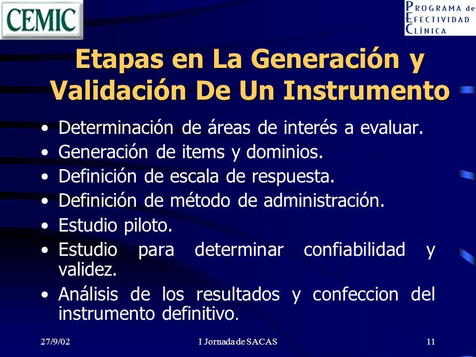 27/9/02I Jornada de SACAS11 Etapas en La Generación y Validación De Un Instrumento Determinación de áreas de interés a evaluar. Generación de items y