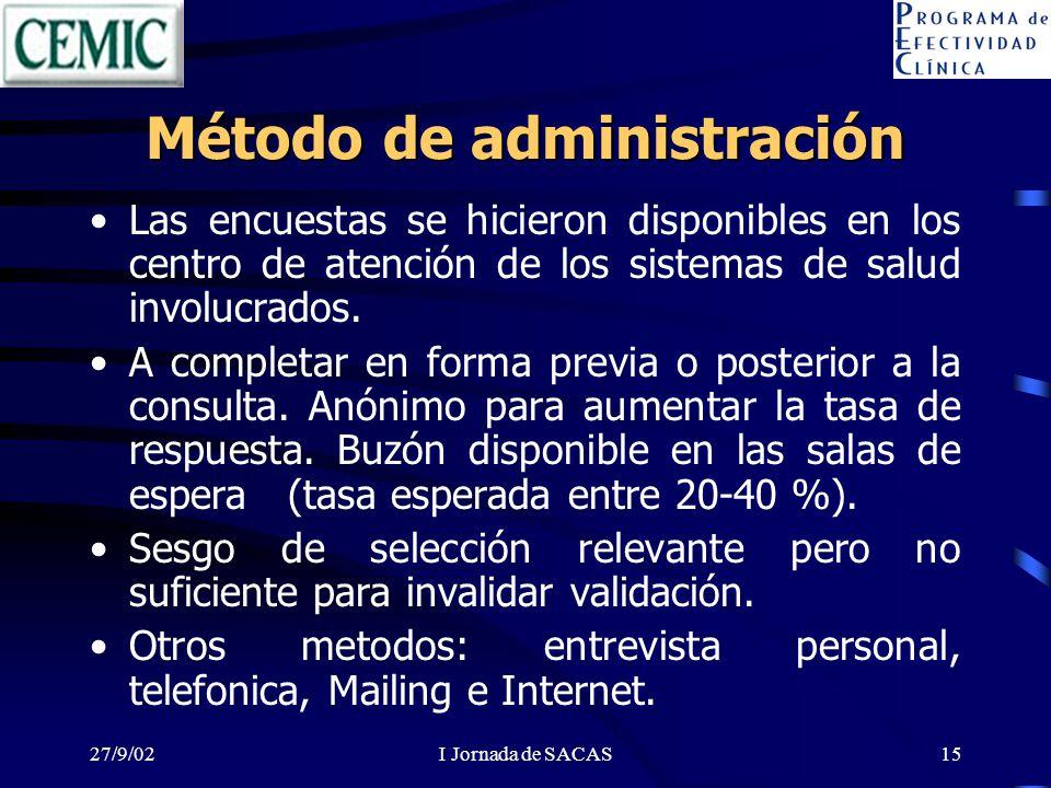 27/9/02I Jornada de SACAS15 Método de administración Las encuestas se hicieron disponibles en los centro de atención de los sistemas de salud involucrados.