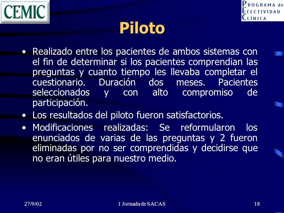 27/9/02I Jornada de SACAS18 Piloto Realizado entre los pacientes de ambos sistemas con el fin de determinar si los pacientes comprendian las preguntas