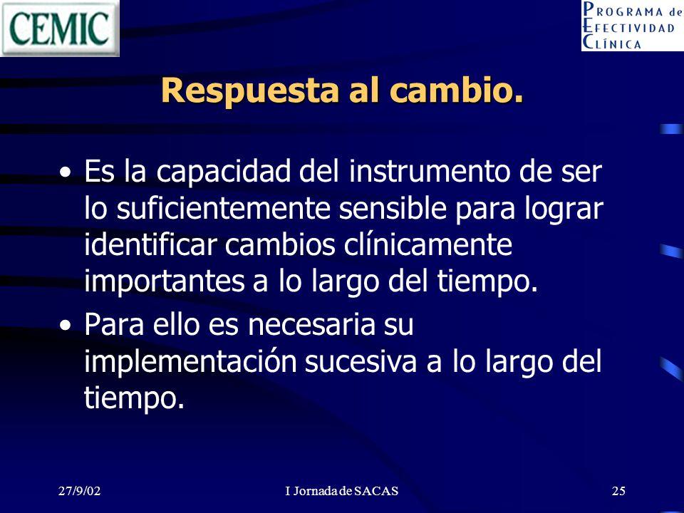 27/9/02I Jornada de SACAS25 Respuesta al cambio. Es la capacidad del instrumento de ser lo suficientemente sensible para lograr identificar cambios cl