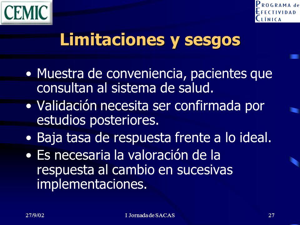 27/9/02I Jornada de SACAS27 Limitaciones y sesgos Muestra de conveniencia, pacientes que consultan al sistema de salud.