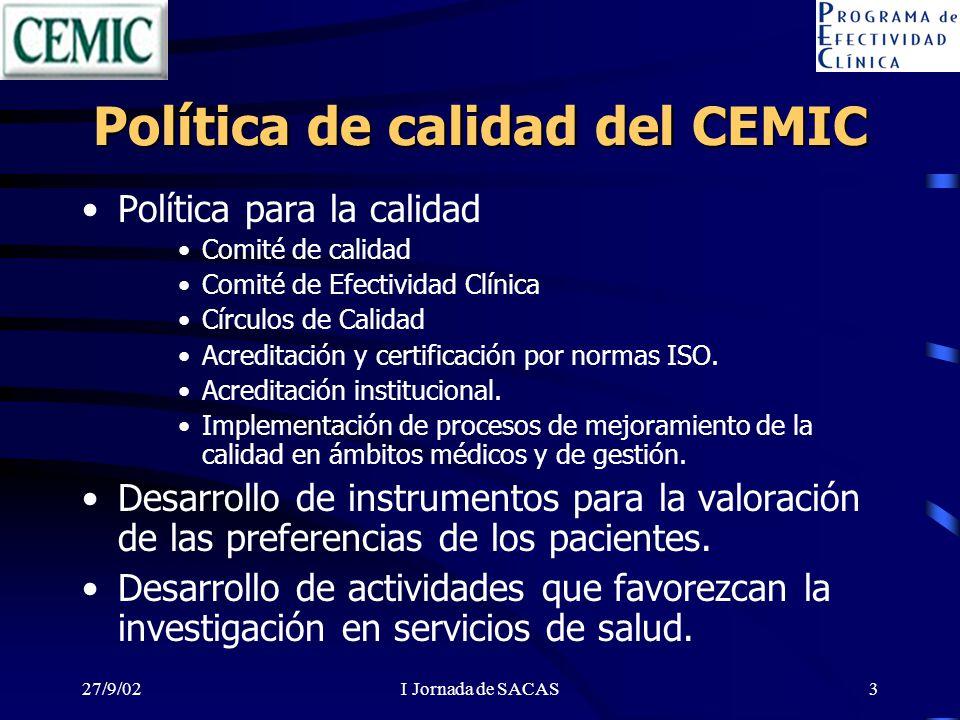 27/9/02I Jornada de SACAS3 Política de calidad del CEMIC Política para la calidad Comité de calidad Comité de Efectividad Clínica Círculos de Calidad Acreditación y certificación por normas ISO.