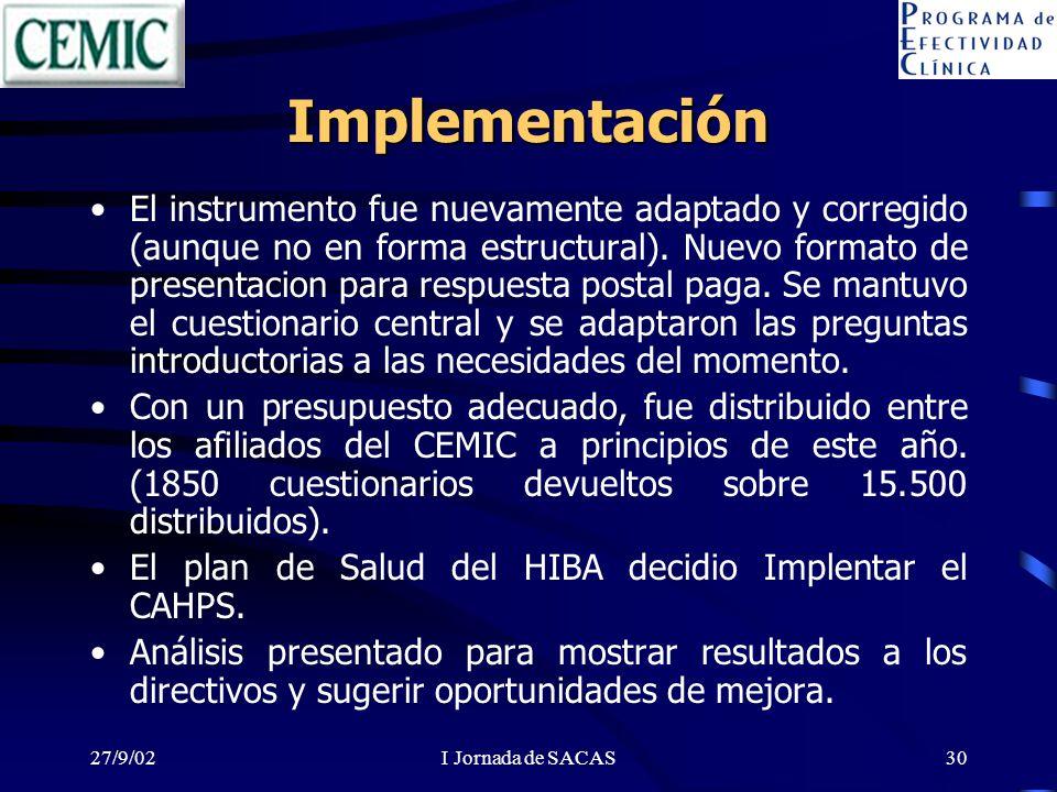 27/9/02I Jornada de SACAS30 Implementación El instrumento fue nuevamente adaptado y corregido (aunque no en forma estructural). Nuevo formato de prese