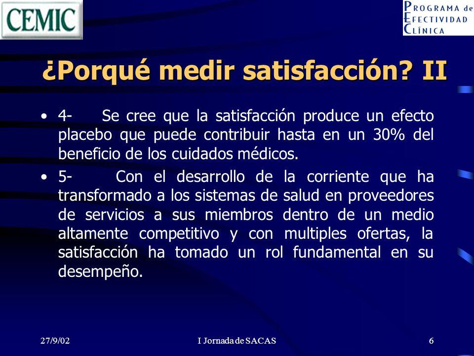 27/9/02I Jornada de SACAS6 ¿Porqué medir satisfacción? II 4- Se cree que la satisfacción produce un efecto placebo que puede contribuir hasta en un 30