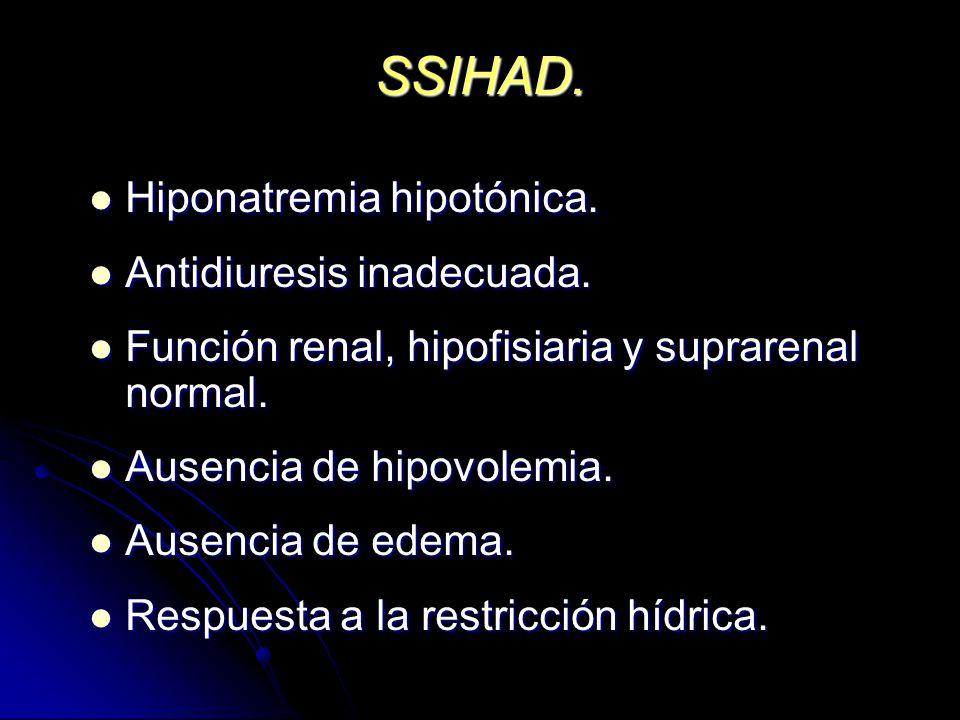 SSIHAD. Hiponatremia hipotónica. Hiponatremia hipotónica. Antidiuresis inadecuada. Antidiuresis inadecuada. Función renal, hipofisiaria y suprarenal n