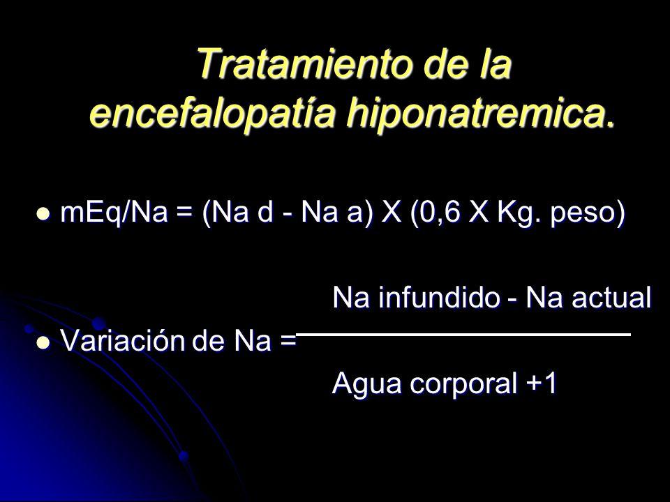Tratamiento de la encefalopatía hiponatremica. mEq/Na = (Na d - Na a) X (0,6 X Kg. peso) mEq/Na = (Na d - Na a) X (0,6 X Kg. peso) Na infundido - Na a