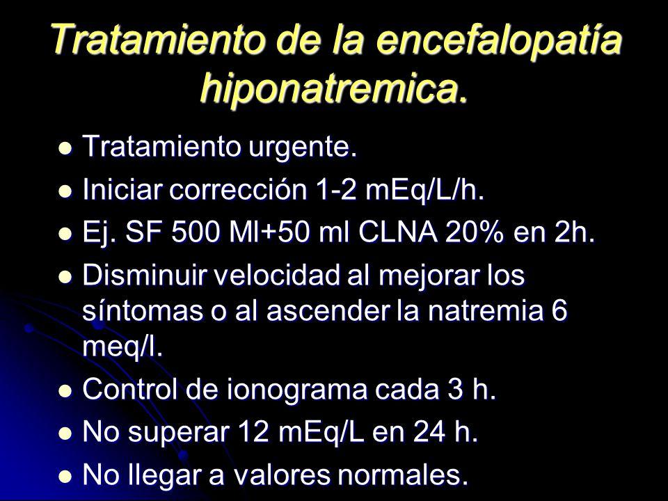 Tratamiento de la encefalopatía hiponatremica. Tratamiento urgente. Tratamiento urgente. Iniciar corrección 1-2 mEq/L/h. Iniciar corrección 1-2 mEq/L/