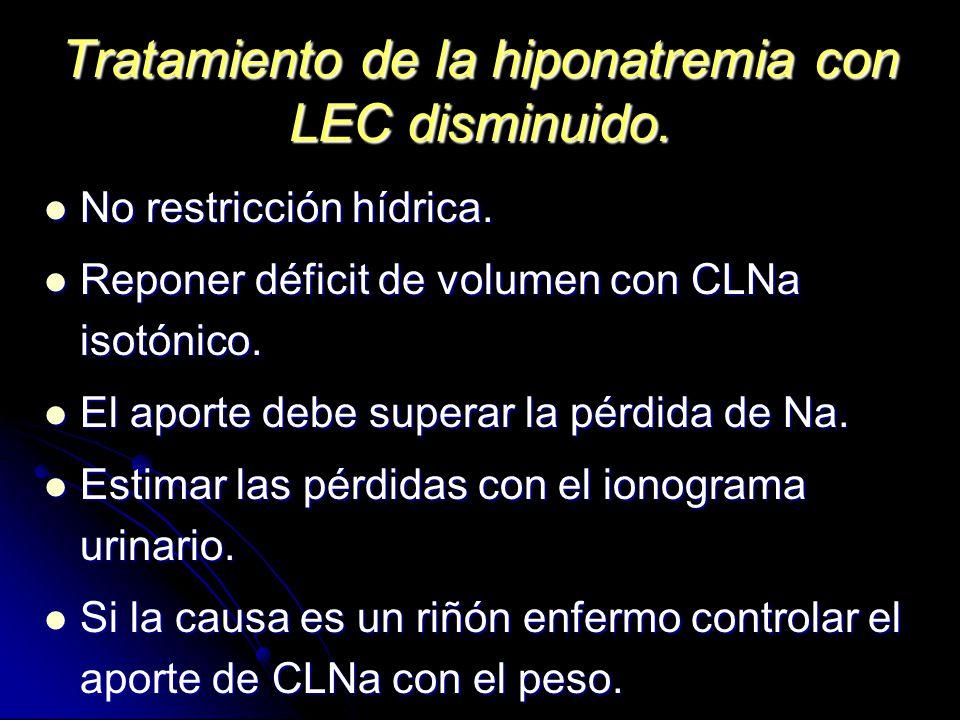 Tratamiento de la hiponatremia con LEC disminuido. No restricción hídrica. No restricción hídrica. Reponer déficit de volumen con CLNa isotónico. Repo