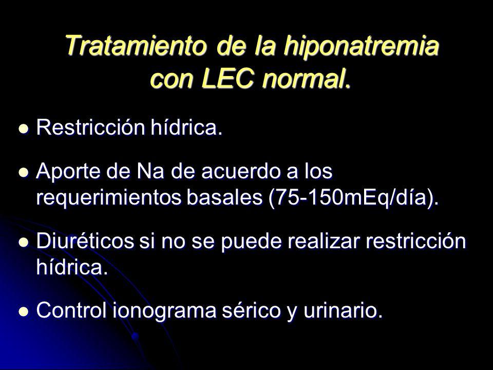 Tratamiento de la hiponatremia con LEC normal. Restricción hídrica. Restricción hídrica. Aporte de Na de acuerdo a los requerimientos basales (75-150m