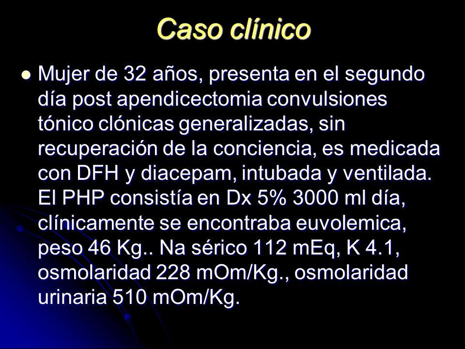 Caso clínico Mujer de 32 años, presenta en el segundo día post apendicectomia convulsiones tónico clónicas generalizadas, sin recuperación de la conci