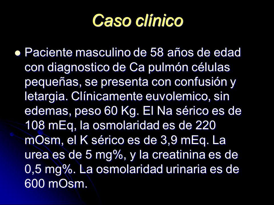 Caso clínico Paciente masculino de 58 años de edad con diagnostico de Ca pulmón células pequeñas, se presenta con confusión y letargia. Clínicamente e