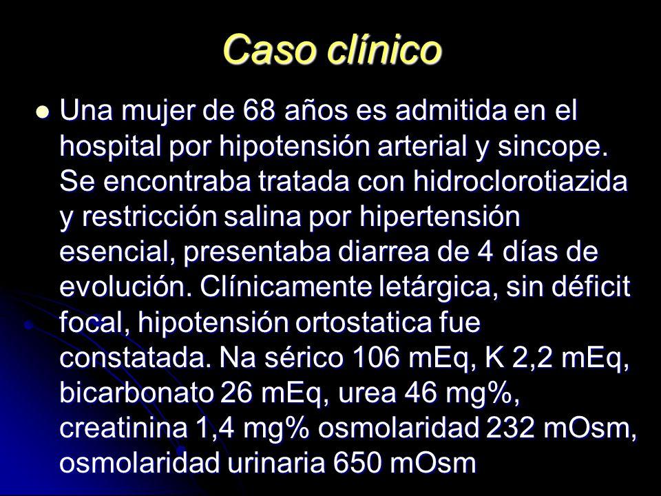 Caso clínico Una mujer de 68 años es admitida en el hospital por hipotensión arterial y sincope. Se encontraba tratada con hidroclorotiazida y restric