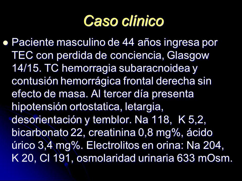 Caso clínico Paciente masculino de 44 años ingresa por TEC con perdida de conciencia, Glasgow 14/15. TC hemorragia subaracnoidea y contusión hemorrági