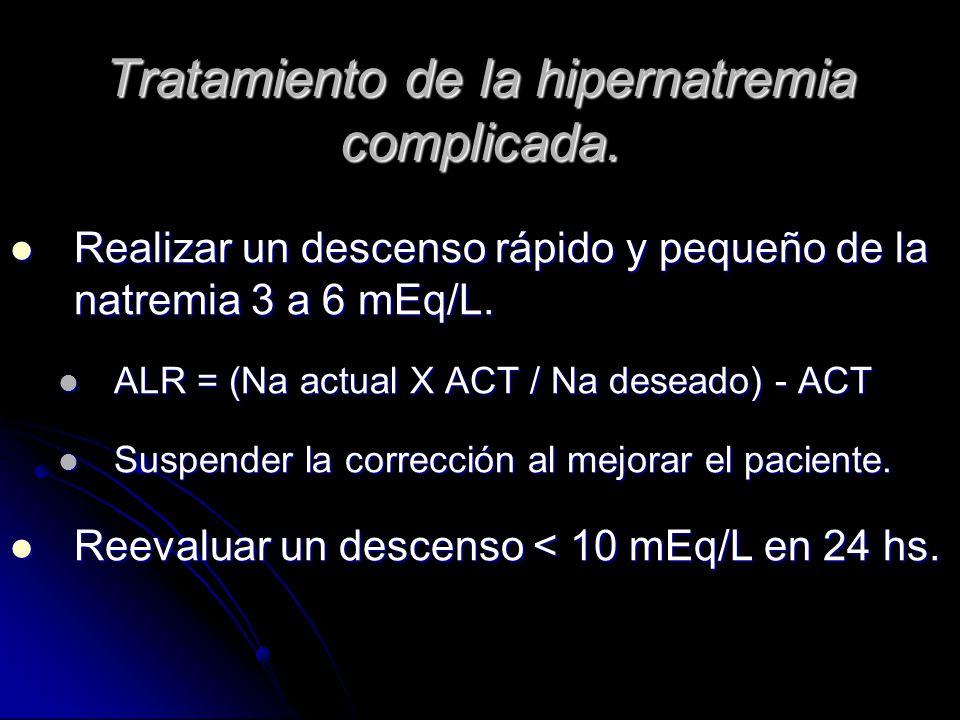 Tratamiento de la hipernatremia complicada. Realizar un descenso rápido y pequeño de la natremia 3 a 6 mEq/L. Realizar un descenso rápido y pequeño de