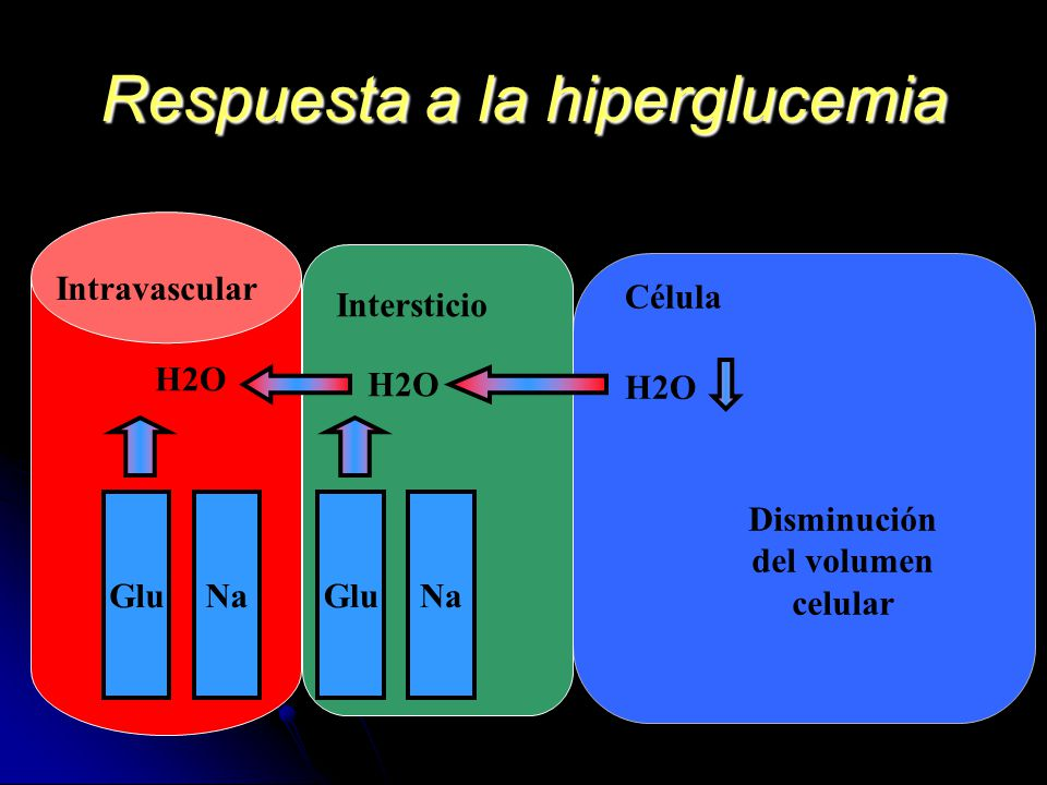 Respuesta a la hiperglucemia Intersticio Intravascular Célula GluNa H2O Disminución del volumen celular NaGlu