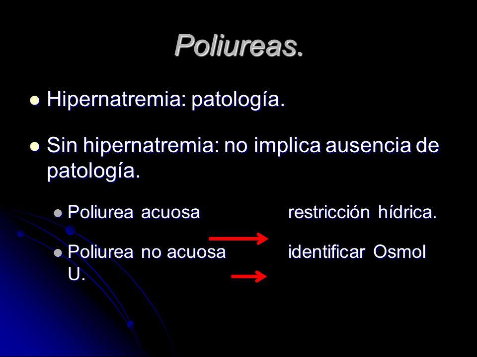 Poliureas. Hipernatremia: patología. Hipernatremia: patología. Sin hipernatremia: no implica ausencia de patología. Sin hipernatremia: no implica ause