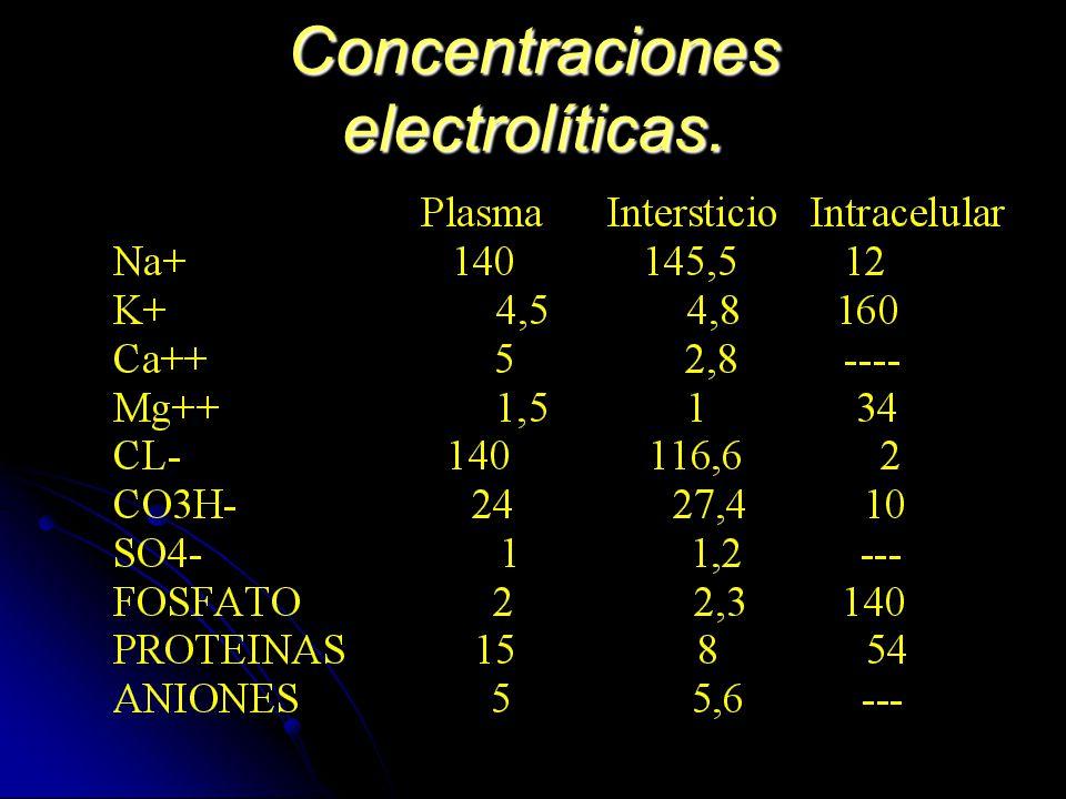 Concentraciones electrolíticas.