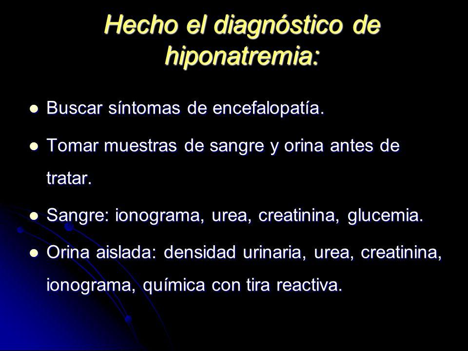 Hecho el diagnóstico de hiponatremia: Buscar síntomas de encefalopatía. Buscar síntomas de encefalopatía. Tomar muestras de sangre y orina antes de tr