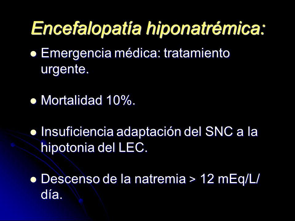 Encefalopatía hiponatrémica: Emergencia médica: tratamiento urgente. Emergencia médica: tratamiento urgente. Mortalidad 10%. Mortalidad 10%. Insuficie