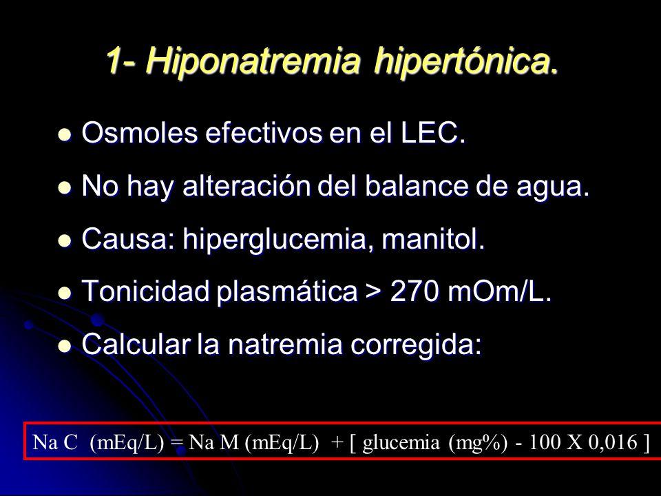 1- Hiponatremia hipertónica. Osmoles efectivos en el LEC. Osmoles efectivos en el LEC. No hay alteración del balance de agua. No hay alteración del ba