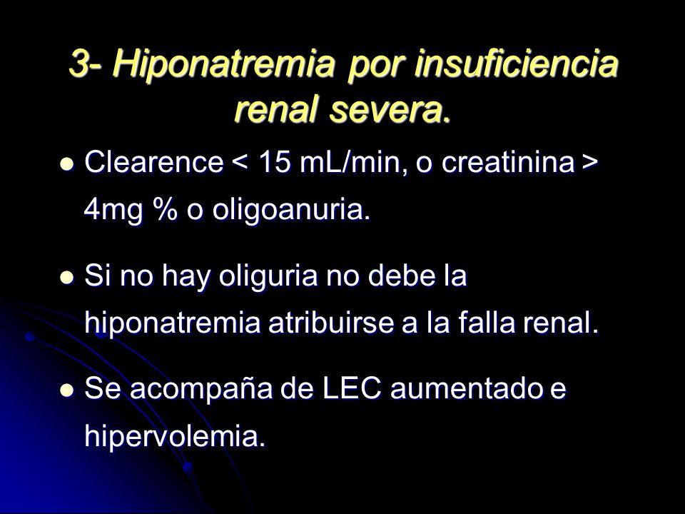 3- Hiponatremia por insuficiencia renal severa. Clearence 4mg % o oligoanuria. Clearence 4mg % o oligoanuria. Si no hay oliguria no debe la hiponatrem