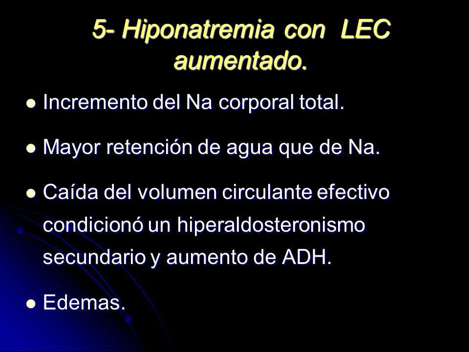 5- Hiponatremia con LEC aumentado. Incremento del Na corporal total. Incremento del Na corporal total. Mayor retención de agua que de Na. Mayor retenc