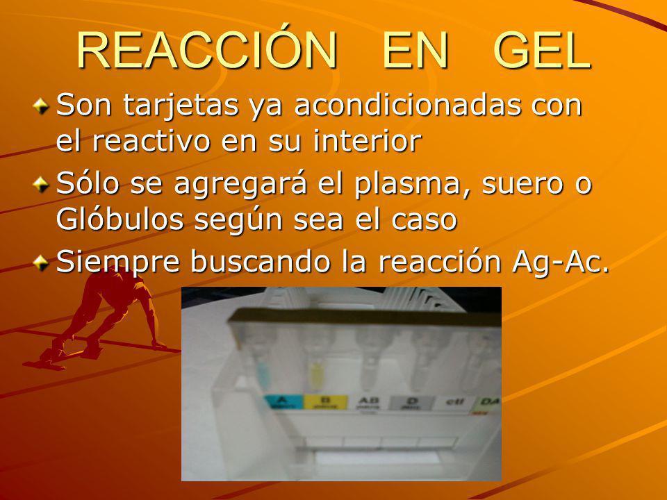 REACCIÓN EN GEL Son tarjetas ya acondicionadas con el reactivo en su interior Sólo se agregará el plasma, suero o Glóbulos según sea el caso Siempre b