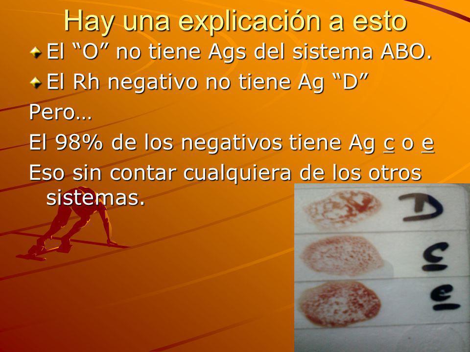 Hay una explicación a esto El O no tiene Ags del sistema ABO. El Rh negativo no tiene Ag D Pero… El 98% de los negativos tiene Ag c o e Eso sin contar