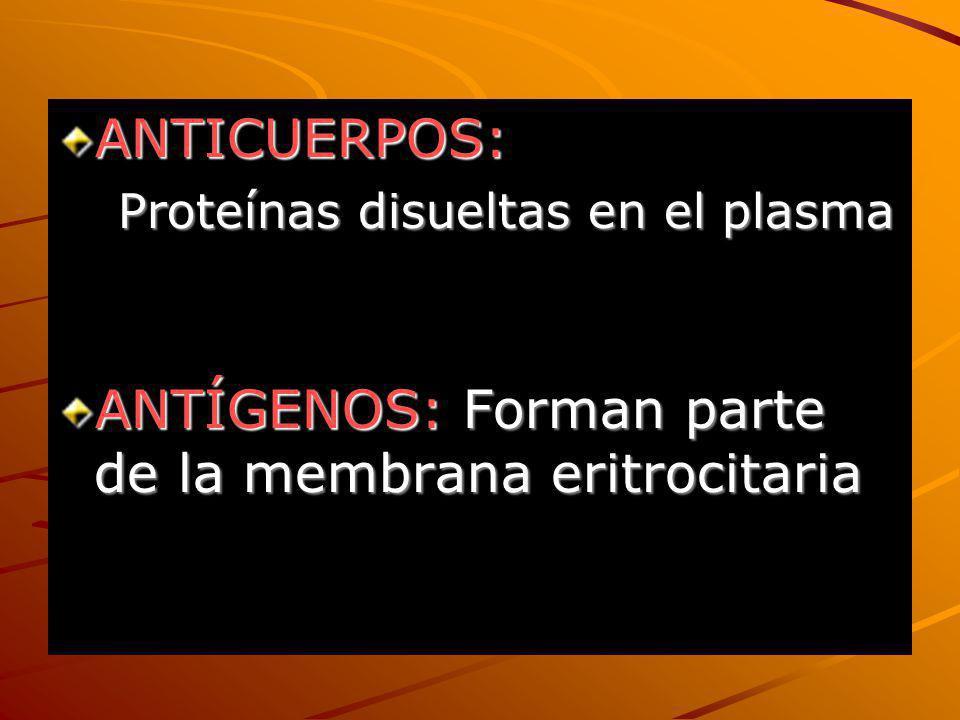 ANTICUERPOS: Proteínas disueltas en el plasma Proteínas disueltas en el plasma ANTÍGENOS: Forman parte de la membrana eritrocitaria
