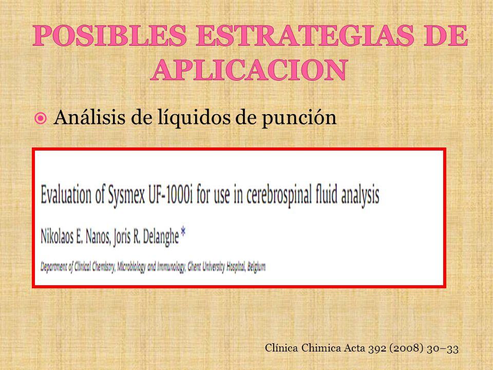 Análisis de líquidos de punción Clínica Chimica Acta 392 (2008) 30–33