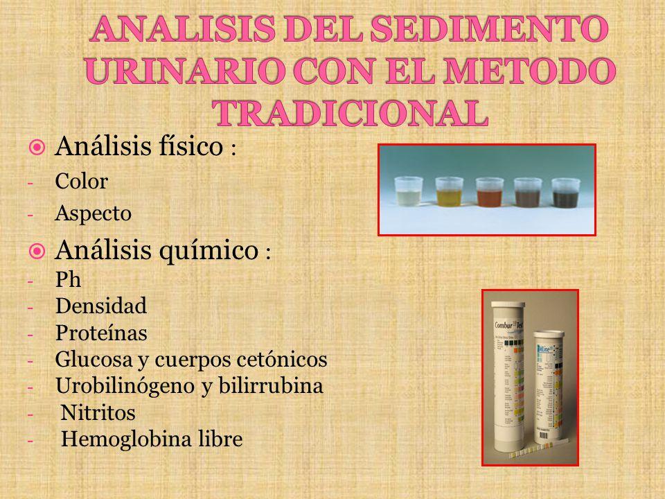 Análisis físico : - Color - Aspecto Análisis químico : - Ph - Densidad - Proteínas - Glucosa y cuerpos cetónicos - Urobilinógeno y bilirrubina - Nitri