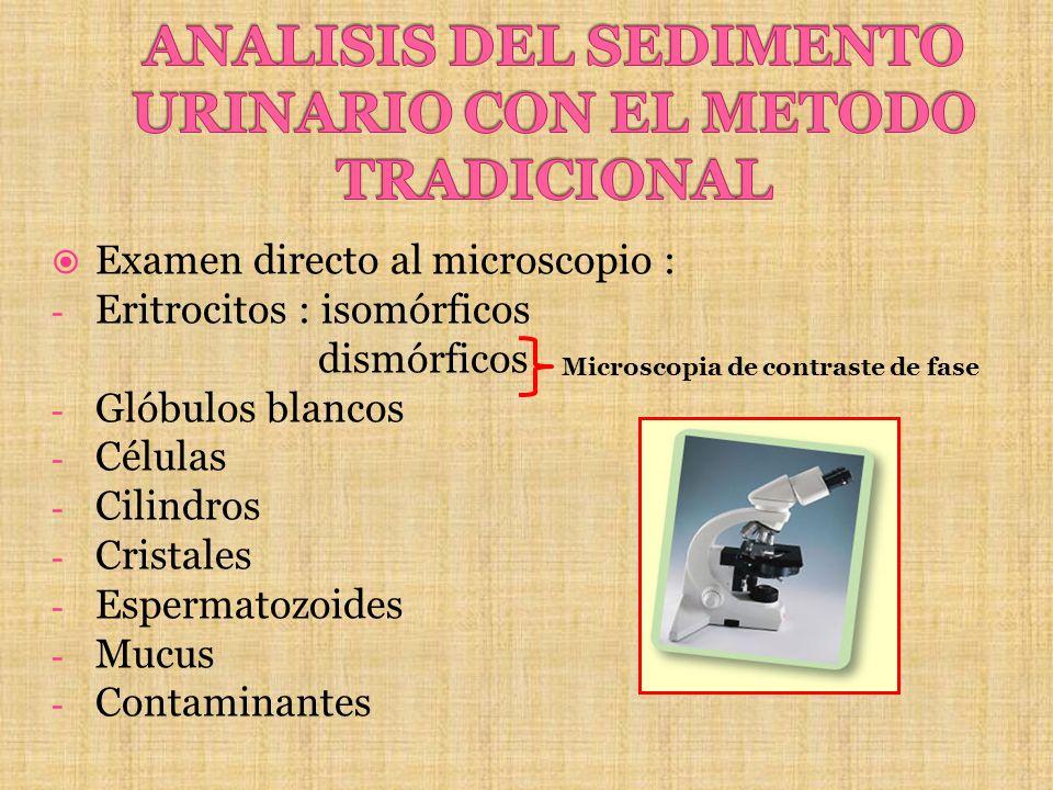 Examen directo al microscopio : - Eritrocitos : isomórficos dismórficos - Glóbulos blancos - Células - Cilindros - Cristales - Espermatozoides - Mucus