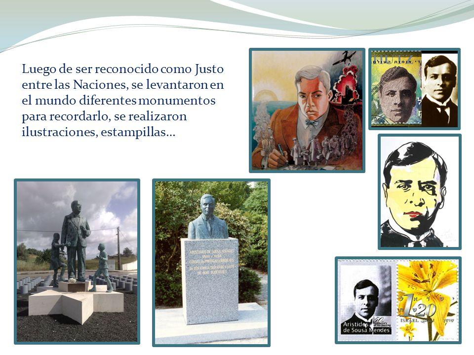 Luego de ser reconocido como Justo entre las Naciones, se levantaron en el mundo diferentes monumentos para recordarlo, se realizaron ilustraciones, e