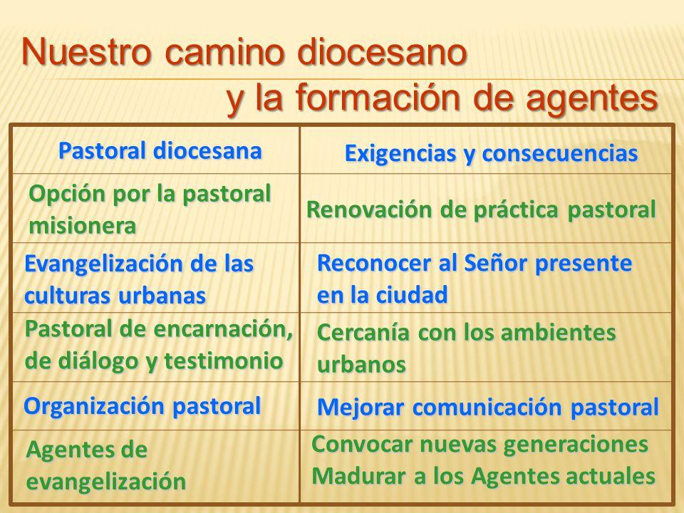 Pastoral diocesana Opción por la pastoral misionera Exigencias y consecuencias Renovación de práctica pastoral Evangelización de las culturas urbanas