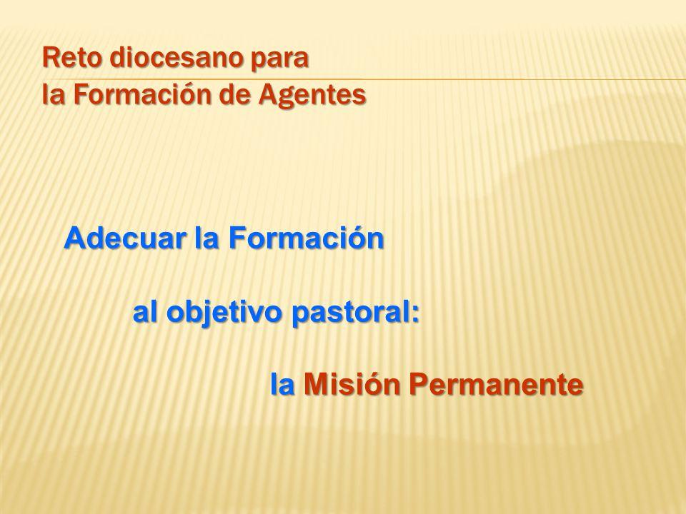 Reto diocesano para la Formación de Agentes Adecuar la Formación al objetivo pastoral: la Misión Permanente