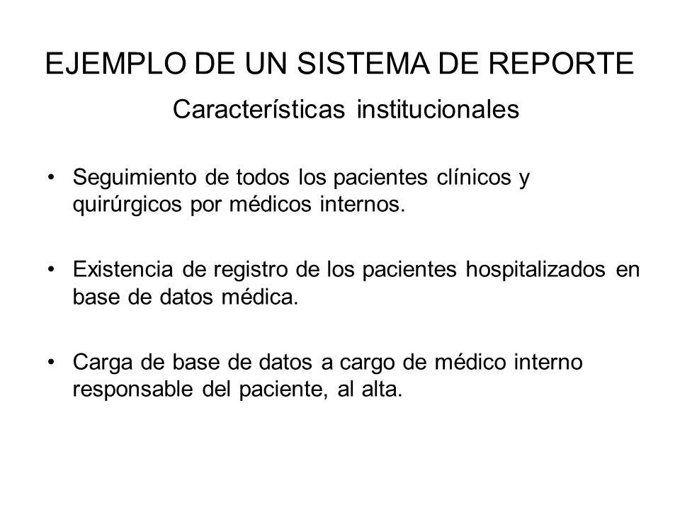 EJEMPLO DE UN SISTEMA DE REPORTE Características institucionales Seguimiento de todos los pacientes clínicos y quirúrgicos por médicos internos. Exist