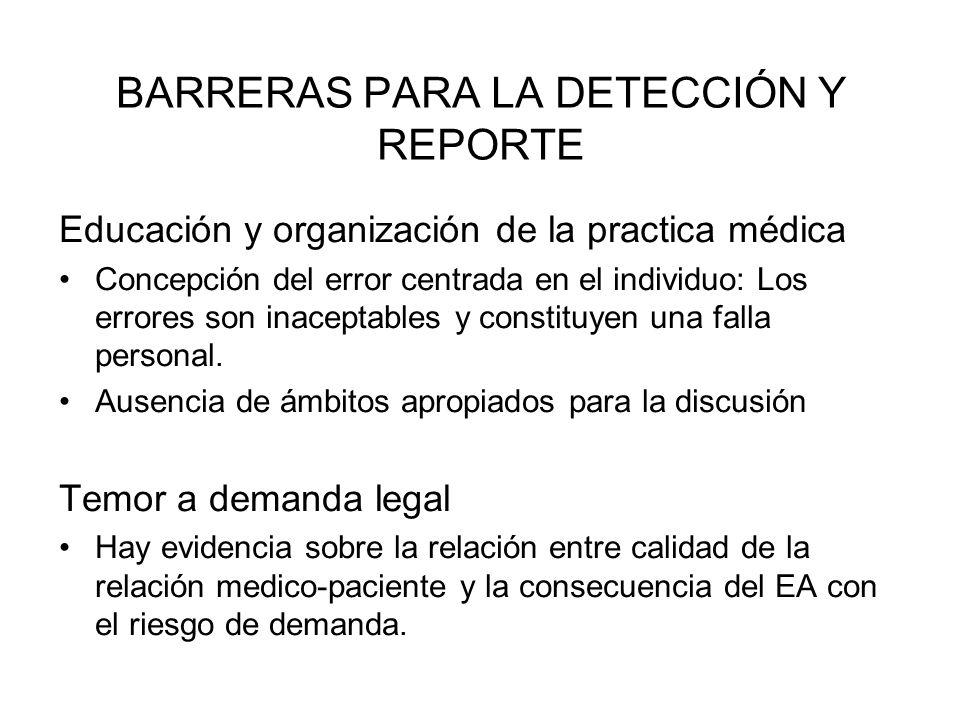BARRERAS PARA LA DETECCIÓN Y REPORTE Educación y organización de la practica médica Concepción del error centrada en el individuo: Los errores son ina