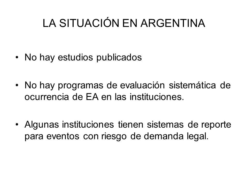 LA SITUACIÓN EN ARGENTINA No hay estudios publicados No hay programas de evaluación sistemática de ocurrencia de EA en las instituciones. Algunas inst