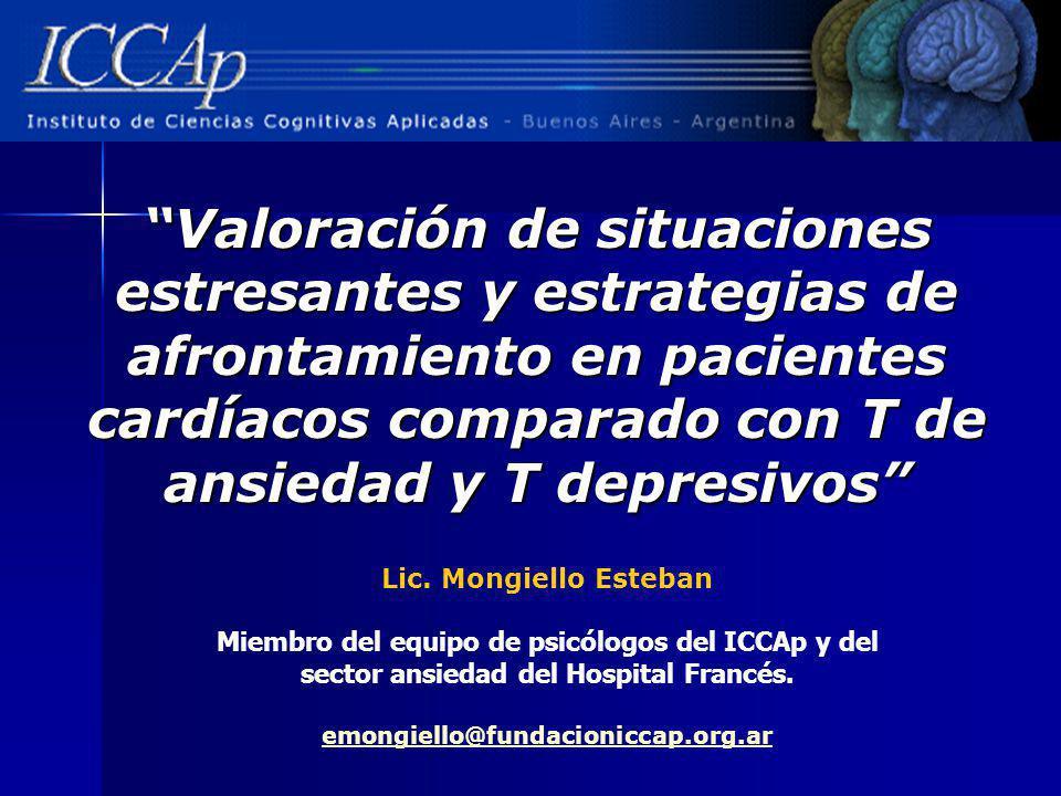 Valoración de situaciones estresantes y estrategias de afrontamiento en pacientes cardíacos comparado con T de ansiedad y T depresivos Lic. Mongiello
